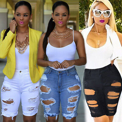 US STOCK Womens Denim Stretch Ripped Hole Washed Distressed Short Jeans Shorts