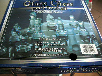 Used Glass Chess and Checkers Game with Smomke Glass Board