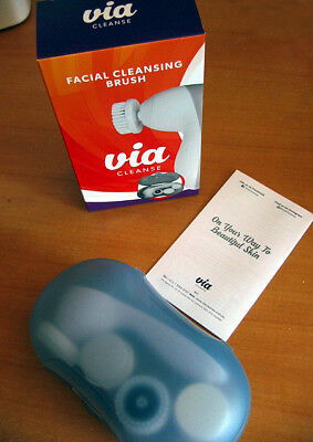 Via Electric Handheld Facial Cleansing Brush Battery Operated Face Skin Scrubber