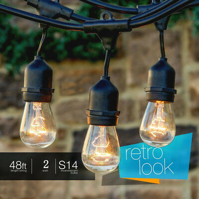 48FT LED Outdoor Waterproof Commercial Grade Patio Globe String Lights Bulbs URT