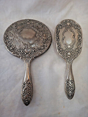 Vintage Silverplate Heavy Brush and Hand Mirror Set ~ Victorian Reproduction