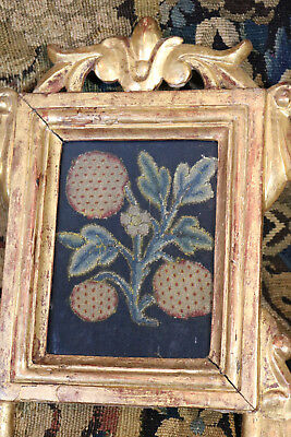 C17th Crewelwork  Embroidered Jacobean Stumpwork  Slip Flower Fruit