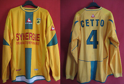 Football jersey FC Nantes vintage Mauro Cetto #4 Synergy Le Coq sportif -L