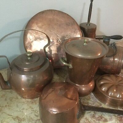 Antique French Copper Collection ( 8 Pieces )