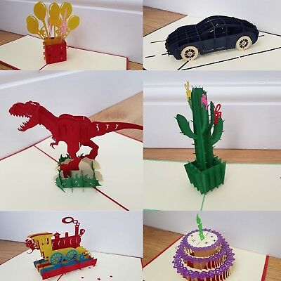 Birthday Card UK 3D Pop Up Handmade Cards Mothers Day cake Train