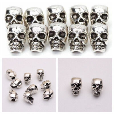 PCS DIY Charms Metal Spacer Beads Antique Silver Skull Head Jewelry Making