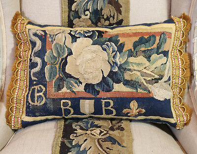 Antique French Aubusson Armorial Pillow 17th Century Heraldic Tapestry Cushion