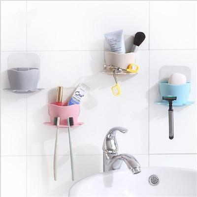 Bathroom Wall Suction Cup Box Toothbrush Toothpaste Holder Storage Organizer N7