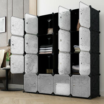 16-Cube Wardrobe Plastic Closet Organizer Clothes Shoes Toy Storage System Curly