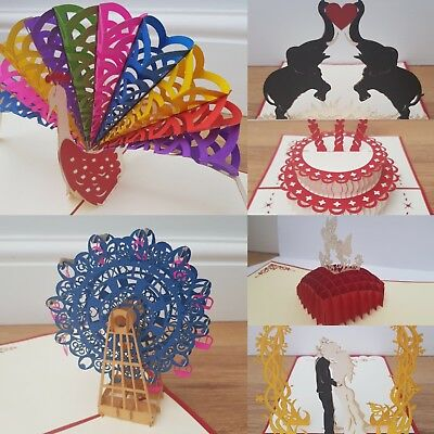 Valentines Day Wedding Anniversary Card 3D Pop Up Greeting Cards Love Baby UK
