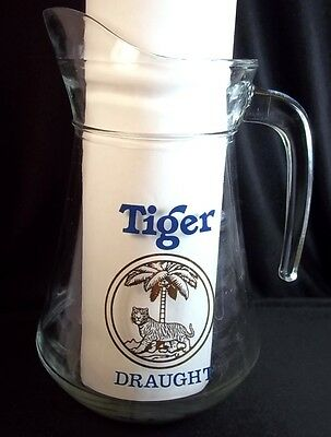 Tiger Draught beer pitcher Asia Pacific Breweries 44 oz Blue letters gold logo