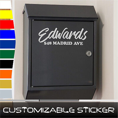 CUSTOM NAME ADDRESS postbox post mail box door number sticker decal (#ST031)