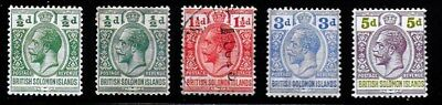 Brirtish Solomon Islands 1914 - 1922 KGV Definitives - MH & Used