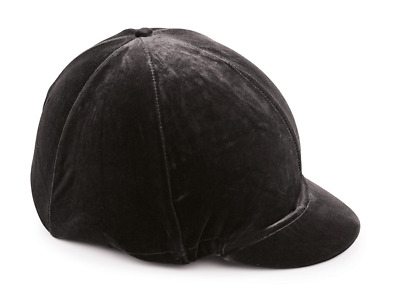 Shires Velveteen Skull Cap Cover - Black
