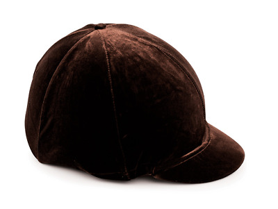 Shires Velveteen Skull Cap Cover - Brown
