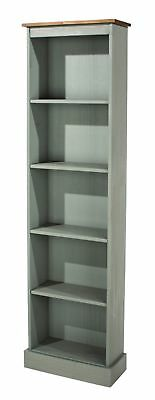 Premium Corona Grey Washed Tall Narrow Bookcase in Solid Pine