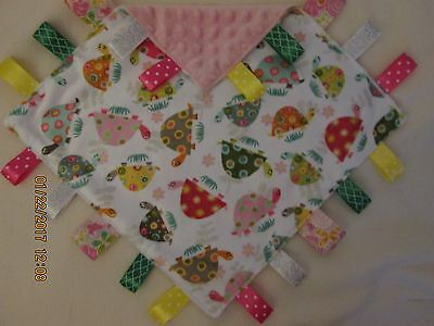 New Double Minky Turtles/Pink Taggie Security Blanket Baby Girl