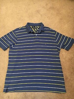 8071d5772 Tommy Hilfiger Men s Large Polo Shirt Blue with White and Yellow Stripes