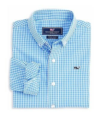 New Boys Vineyard Vines Whale Shirt Seabrook Gingham Breaker Blue Button Down