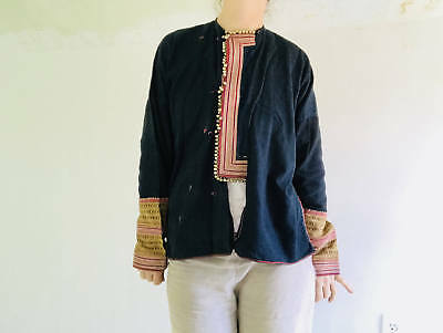 Vintage Tribal Red Dao Indigo Jacket. Fabulous Embroidery. Hmong Vietnam XS-M