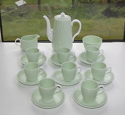 Minton England Bone China Late Victorian Mint Green Coffee Set Fluted 19 Pieces