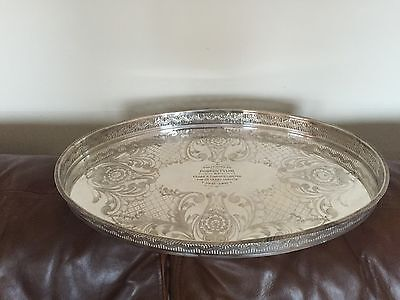 """Lovely Silver Plated Oval Engraved Gallery Tray 19.25"""" X 12.75 (Sheffield Made)"""