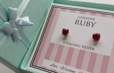NEW GENUINE RUBY18k GOLD 925 STERLING SILVER Stud EARRING 6mm SALE NEW $80 SALE