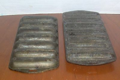 Vintage Heavy Cast Iron 7 Ear of Corn Muffin Pan Lot of 2