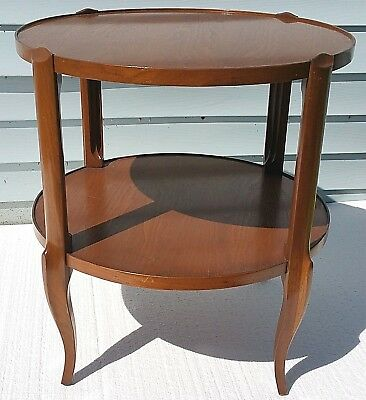 Vintage Bodart French Country Provincial 2 Tier Side End Lamp Wood Table