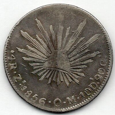 Mexico 4 Reales 1856 ZsOM (90.3% Silver) Coin