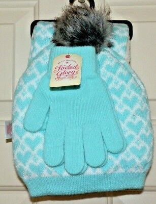 Girls Fleece Lined Hat Scarf and Knit Gloves Set Green Hearts 3 Piece