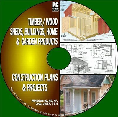 Detailed Shed Plans Wooden Builds Timber Home/garden Projects Guide Pc-Cd Rom