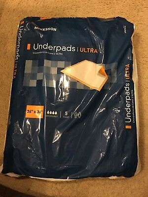 NEW! Underpad McKesson Ultra 36 X 36 Fluff / Polymer Heavy Absorbency Pack of 5