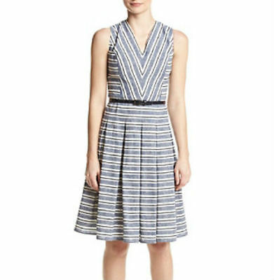 103fa3153d Tommy Hilfiger Sleeveless Belted Fit & Flare Dress 6, Navy/Multi BELT  MISSING