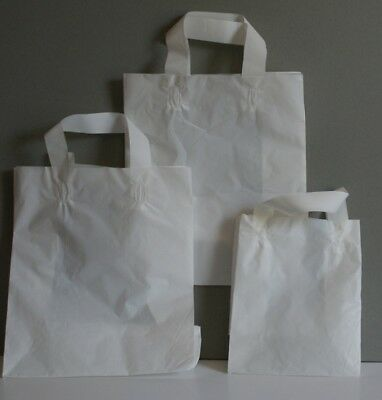 Brown / White Paper Plastic Sos Carrier Bags With Tape Handle Medium / Large / S