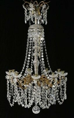 19th C French Crystal Chandelier Gilt Bronze Shabby Chic AMAZING Antique
