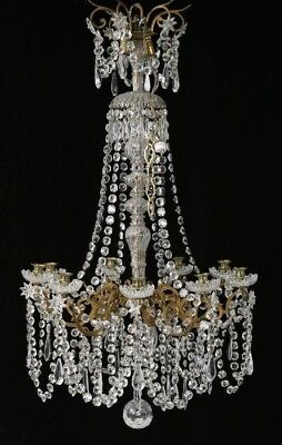 Antique French Crystal Chandelier Gilt Bronze ca 1880 AMAZING!