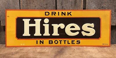Vintage 1940's Original Drink HIRES In Bottles Country Store Tin Embossed Sign