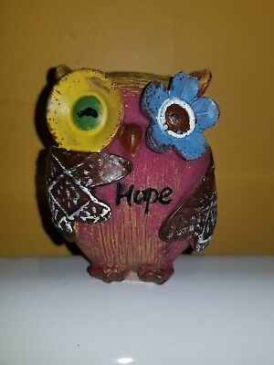 Cute Little Wood Owl Red Figurine Statue Inspirational Hope