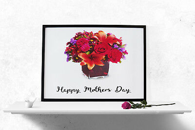 Happy Mothers Day Roses Print Poster Wall Art A4 A3 Women Gift Present Mum-1102