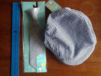 Target boys 3+ years set of Blue And White  Hat and Necktie NWT
