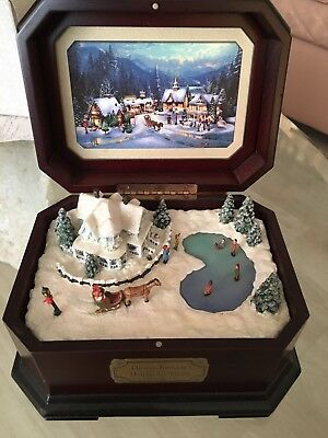 Vintage Thomas Kinkade's Holiday Gathering Music Box Cherished Christmas Collect