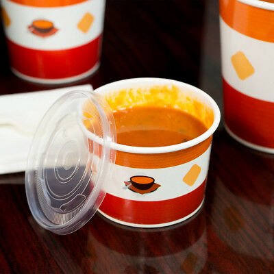 (250 Pack) 12 oz. Double Poly-Coated Paper Soup Hot Food Cup Vented Plastic Lid