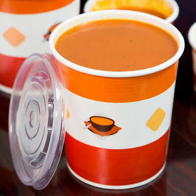 (250 Pack) 32 oz. Double Poly-Coated Paper Soup Hot Food Cup Vented Plastic Lid