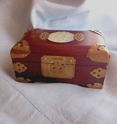 Vintage Chinese  Rosewood Jewelry Box, Hinged, Brass Ornaments & Jade Medallion