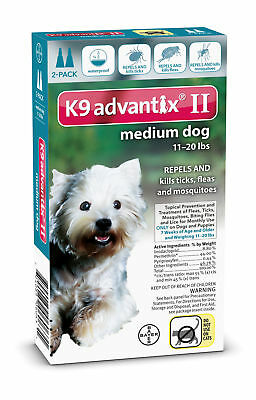 K9 Advantix II for Medium Dogs 11-20 lbs Flea and Tick Spot On Teal 2 Month