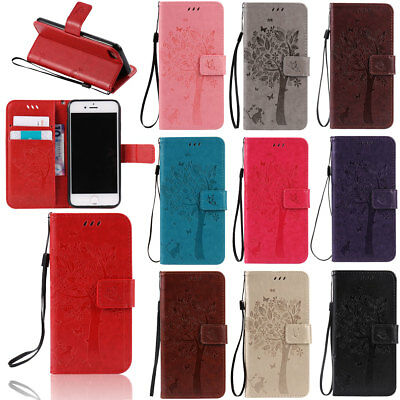 For Apple iPhone 5 5s SE Folio PU Leather Wallet Phone Case with Wristlet Cover