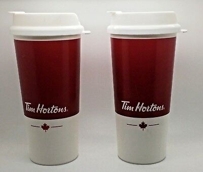 Tim Hortons Whirley Red & White Canada Maple Leaf Plastic  Travel Tumbler Mug