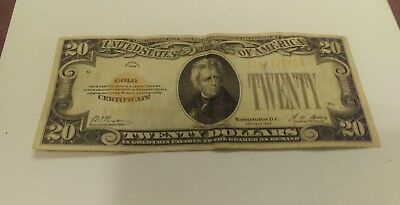 United States $20 Gold Certificate 1928 Final Issue Small Gold Note Solid-Intact