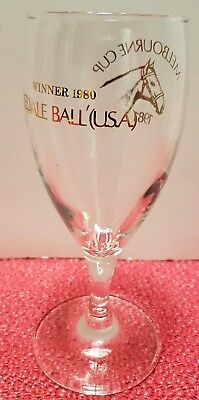 Vintage MELBOURNE CUP 1980 WINNER - BELDALE BALL Souvenir Wine / Beer Glass
